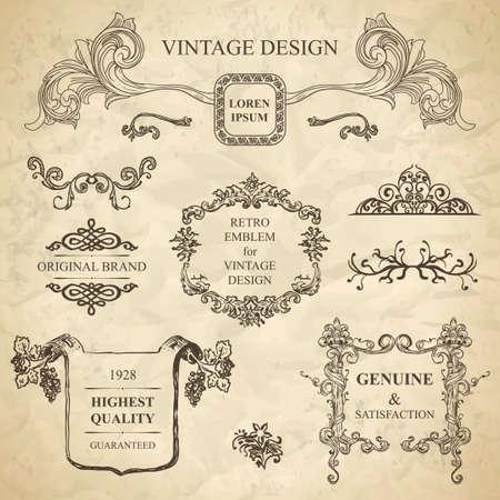 set of emblems for vintage design