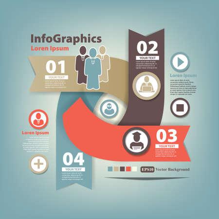 Ilustración de Abstract set infographic on teamwork in business - Imagen libre de derechos