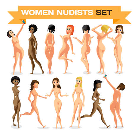 Set woman nudist is standing. Isolated flat cartoon illustration. The comic girls on the beach naked