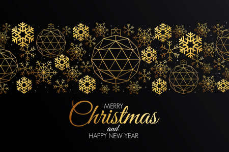 Illustration for Christmas colorful greeting card made in polygonal origami style. Party poster, greeting card, banner or invitation. Ornaments formed by triangles. - Royalty Free Image