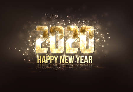 Illustration pour Happy New Year 2020 colorful greeting card made in polygonal origami style. Party poster, greeting card, banner or invitation. Number formed by triangles. Vector - image libre de droit