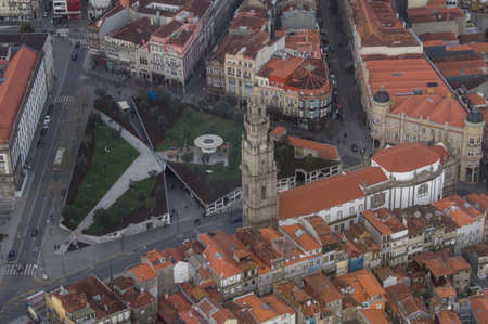aerial view of the greja dos Cl? ? Rigos white the Cl? ? Rigos tower in Porto