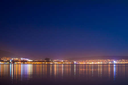 night sea and the beach of the black sea abstract landscape