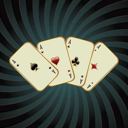 Poker card illustration against retro background