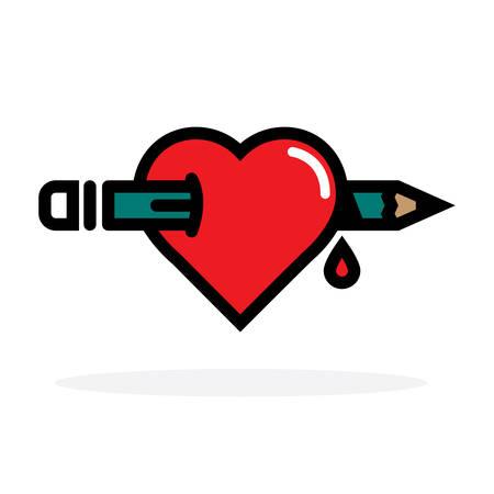 Pencil through Heart