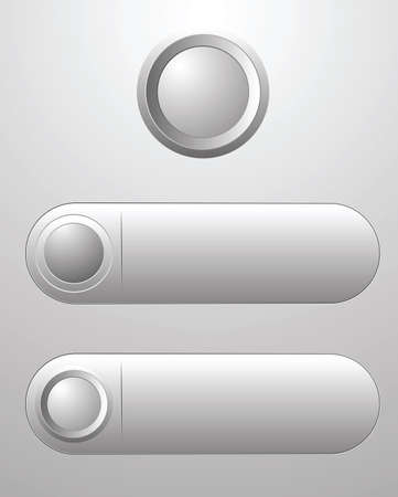 Three white blank button for icon design, element for design.