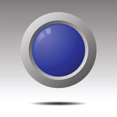 Blue blank button for icon design.  Element for Design. Vector illustration.