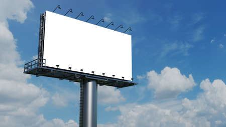 Photo pour Mockup Large billboard or poster displayed on the outdoor against the blue sky background. 3D rendering. Cilpping path. - image libre de droit