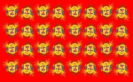 Tribal cartoon face texture