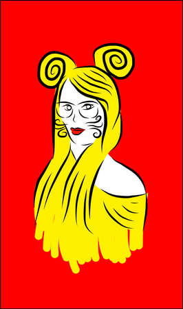 Artistic yellow girl with red background