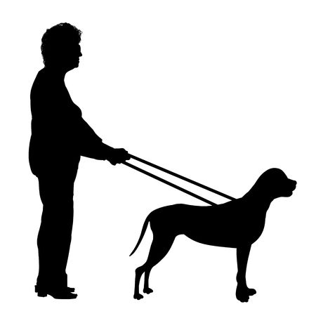Illustration of a woman being guided by a  dog