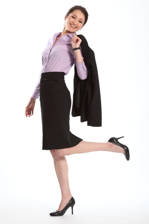 Successful career woman in black suit
