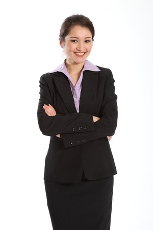 Confident career woman in black suit