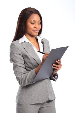 Beautiful black business woman with clipboard