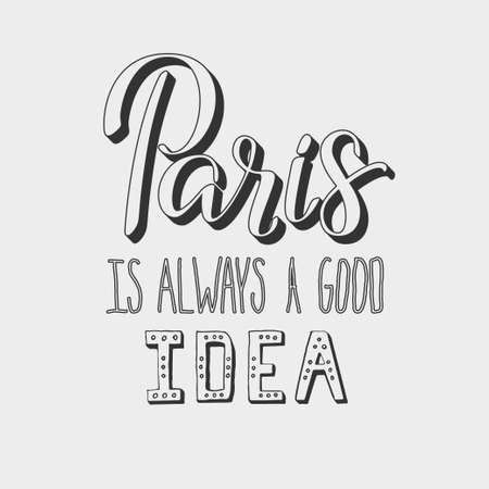 Lettering illustrator of Paris topic  Very romantic and made