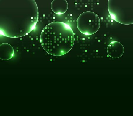Abstract glowing background with digital symbols.
