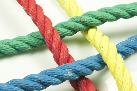 intertwining of four strings of different colors