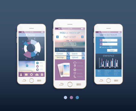 Mobile ui kit. Vector design in trendy color with  mobile phones, interface elements.