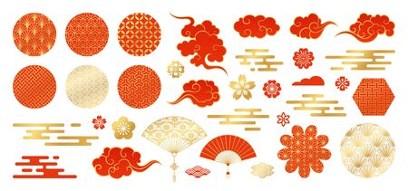 Illustration for Asian design element set. Vector decorative collection of patterns, lanterns, flowers , clouds, ornaments in chinese and japanese style. - Royalty Free Image