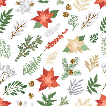 Illustration for Christmas seamless pattern with plants and flowers. Vector card with poinsettia, holly berries, fir and pine branches, cones, rowan. Seamless background for holiday illustration design. - Royalty Free Image