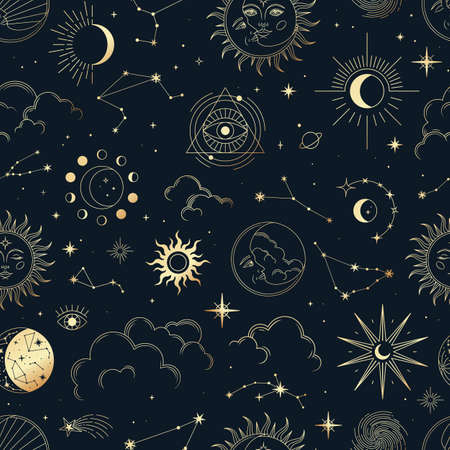 Illustration for Vector magic seamless pattern with constellations, sun, moon, magic eyes, clouds and stars. Mystical esoteric background for design of fabric, packaging, astrology, phone case, yoga mat, notebook covers, wrapping paper. - Royalty Free Image