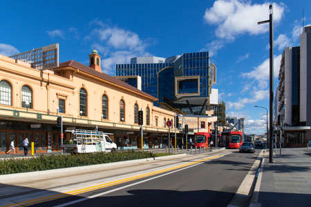 Photo pour Newcastle, Australia - July 29, 2020: View of trams at Hunter St during the day. - image libre de droit