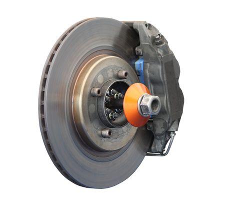 A Brake Disc and Calliper from a Racing Car.