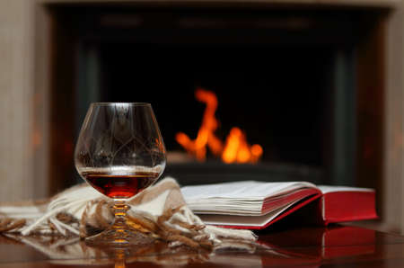 Photo for Cognac, book and shawl by the fireplace - Royalty Free Image