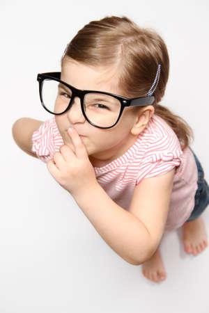 Portrait of lovely smiling girl in glasses