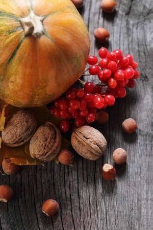 Photo pour Autumn still life with pumpkin in rustic style - image libre de droit