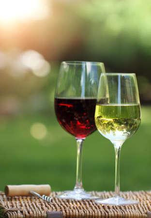 Foto de Two glasses of the white and red  wine in the garden - Imagen libre de derechos
