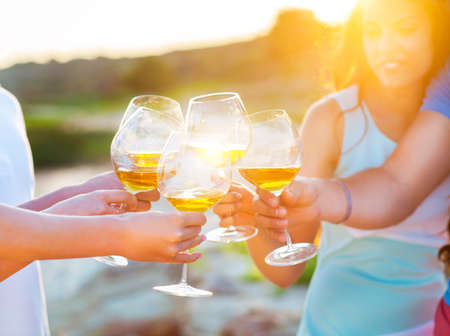Photo pour Celebration. People holding glasses of white wine making a toast. Sunset summer party - image libre de droit