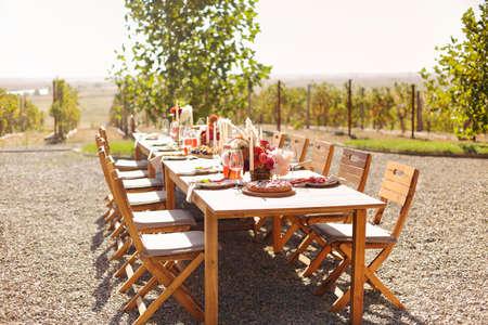 Foto für Empty wineglass placed near board with fruits on banquet table on sunny summer day - Lizenzfreies Bild