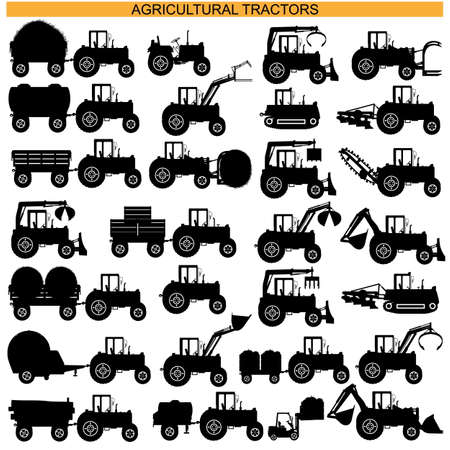 Agricultural Tractor Pictograms isolated on white background