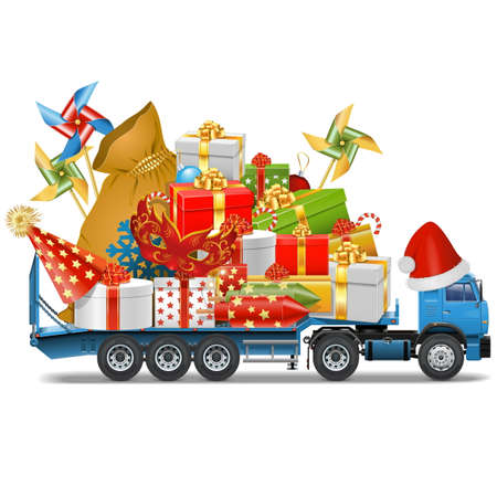 Vector Trailer with Christmas Gifts isolated on white background