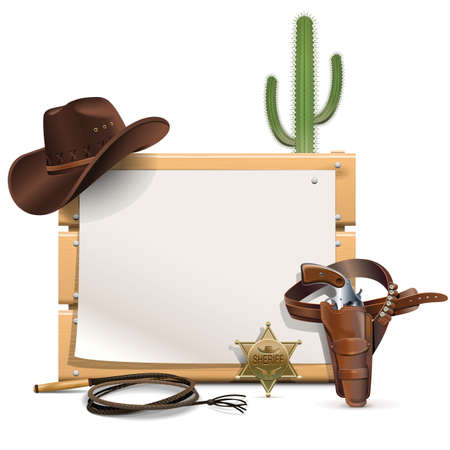 Vector Cowboy Frame  isolated on white background