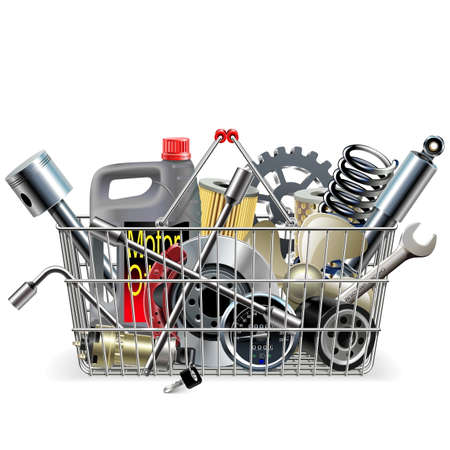 Vector Basket with Car Spares isolated on white background