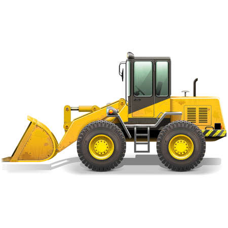 Vector Old Bulldozer isolated on white background