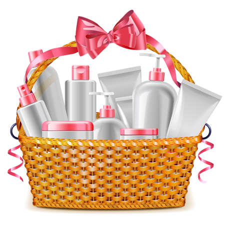 Vector Gift Basket with Cosmetics isolated on white background