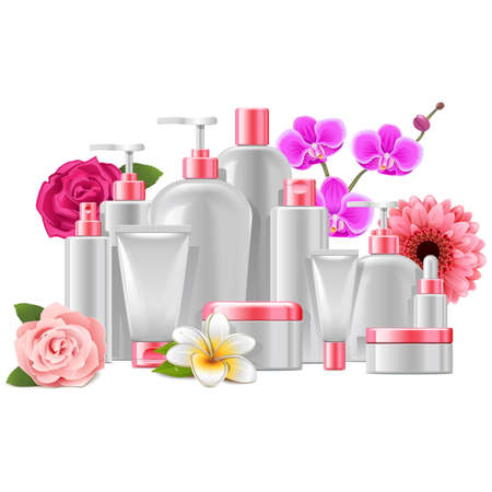 Illustration for Vector Cosmetic Packaging with Flowers isolated on white background - Royalty Free Image