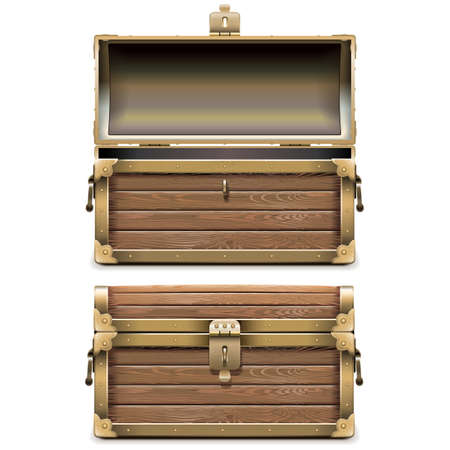 Illustration pour Empty Old Chest isolated on white background - image libre de droit