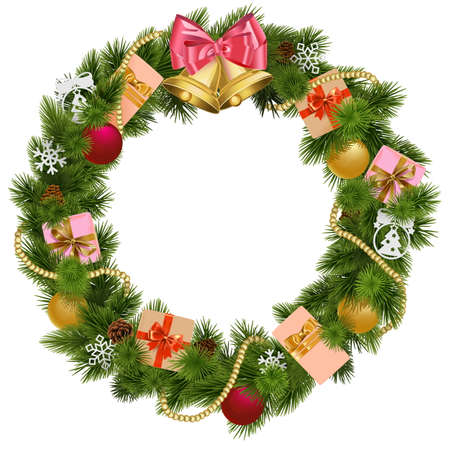 Illustration pour Christmas Wreath with Christmas Bell isolated on white background - image libre de droit