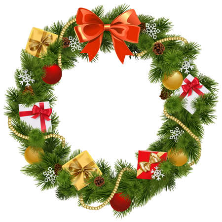 Illustration for Christmas Wreath with Red Bow isolated on white background - Royalty Free Image