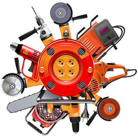 Illustration pour Vector Cable Reel with Power Tools isolated on white background - image libre de droit