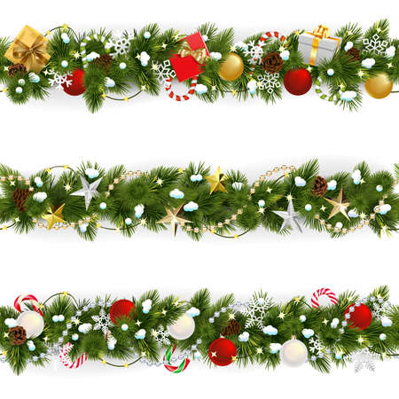 Illustration for Vector Snowy Christmas Pine Border isolated on white background - Royalty Free Image