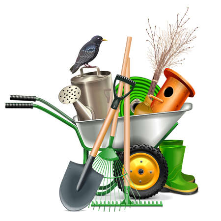 Illustration for Vector Spring Concept with Garden Tools isolated on white background - Royalty Free Image