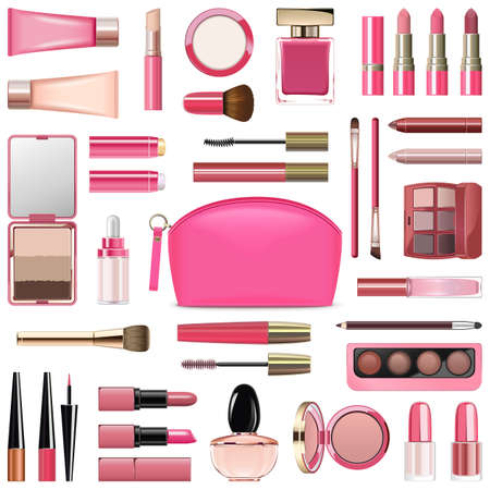 Illustration pour Vector Makeup Cosmetics with Rose Cosmetic Bag isolated on white background - image libre de droit