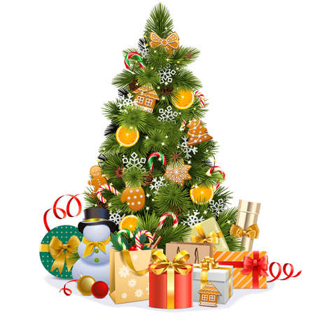 Illustration pour Vector Christmas Pine Tree with Sweet Decorations isolated on white background - image libre de droit