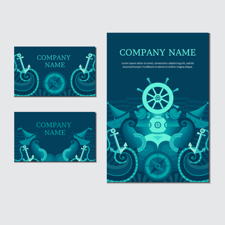 Photo for Corporate identity in a nautical theme. Vector set of sea invitation cards. Collection of banners on the marine theme. Illustration on the marine theme. - Royalty Free Image