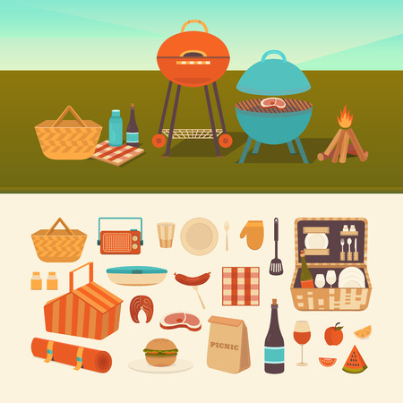 set of summer picnic. Barbecue outdoors. Illustration of a picnic in the park. Family weekend in nature. Collection of icons: barbecue grills, basket, fruits, sandwich, wine.